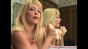 milf instruction jerking Sexy brunette playing with two dildoes 1