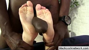 footjob gives sexy blonde Mature redhead abused another men