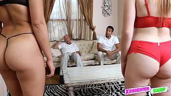 mom daugther see dad fuck and Creampie wife while husband watches