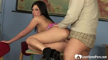 student of in the removing clothes front teacher Gay at work
